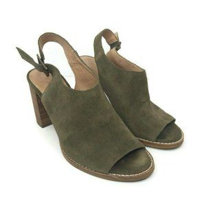 Madewell Size 7.5 Cary Green Suede Open Peep Toe